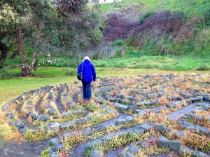 A woman walks the Merri Creek Labyrinth, Victoria, Australia.