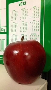 Apple in front of a 2013 calendar