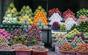 Fruit stacked at a market, Vung Tau