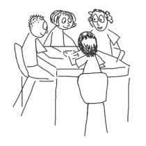 Sketch of students around a table