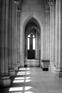 An upper corridor in the Washington National Cathedral