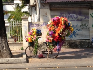 A bike laden with flowers in Ho Chi Minh City