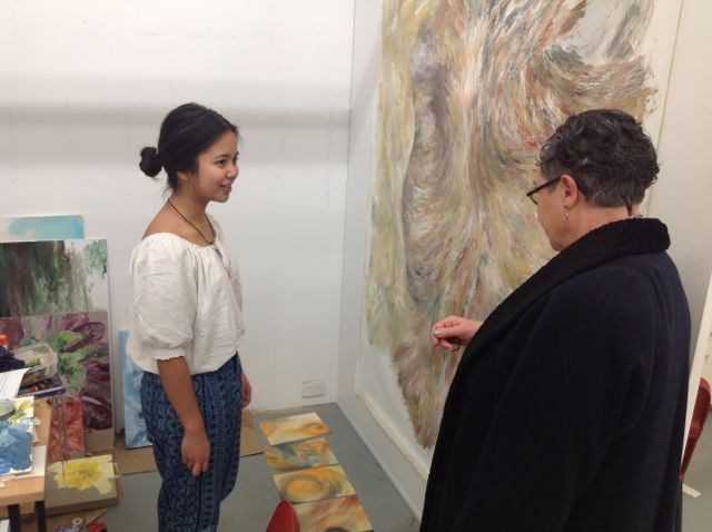 Year 1 Student Chloe Caday in feedback session with Dr. Robin Kingston